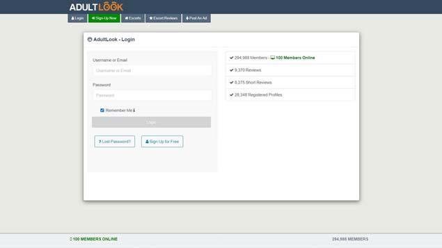 registration on AdultLook hookup site